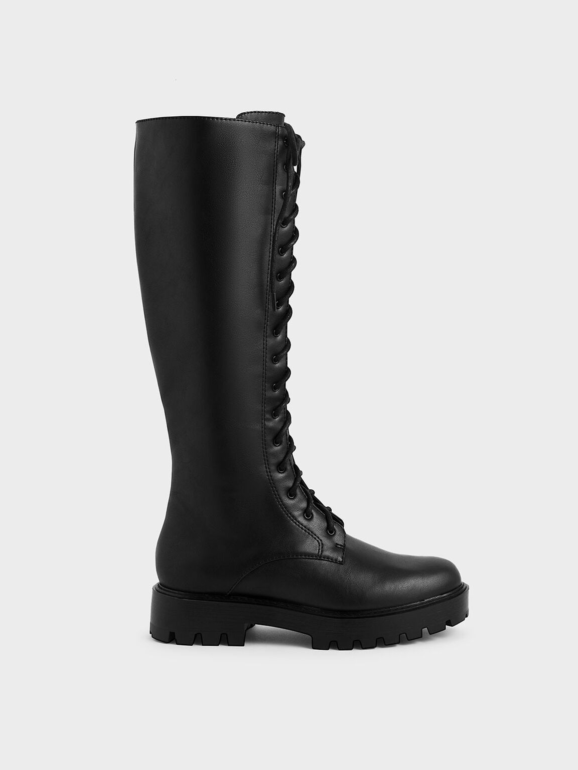 Knee High Lace-Up Boots, Black, hi-res