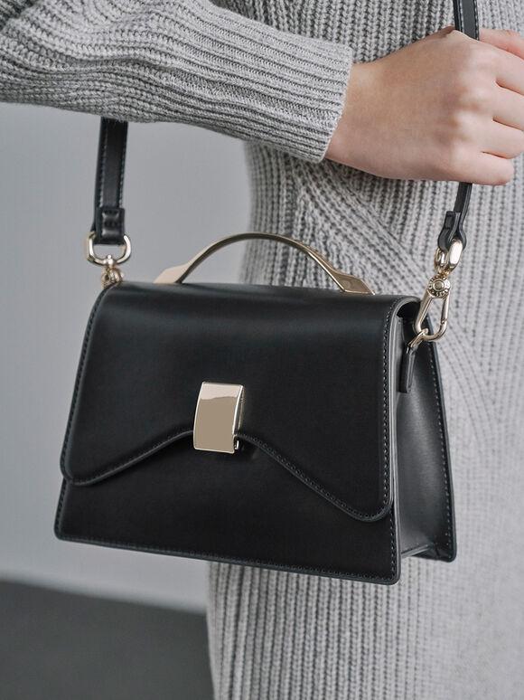 Metallic Top Handle Push-Lock Bag, Black, hi-res