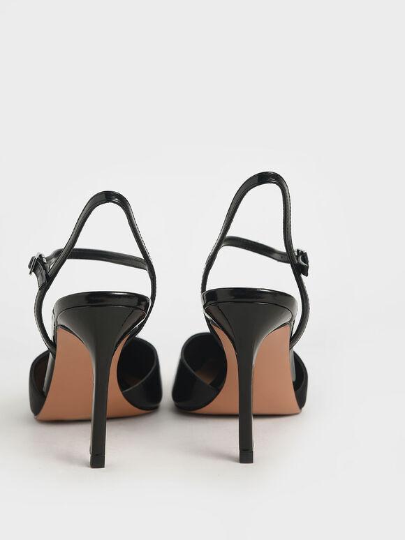 Patent & Satin Ankle Strap Pumps, Black, hi-res