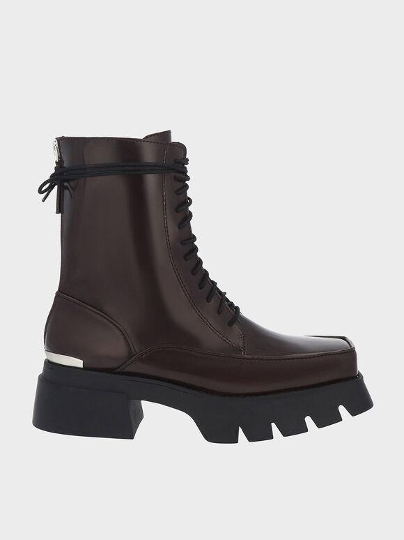 Lace-Up Platform Calf Boots, Dark Brown, hi-res