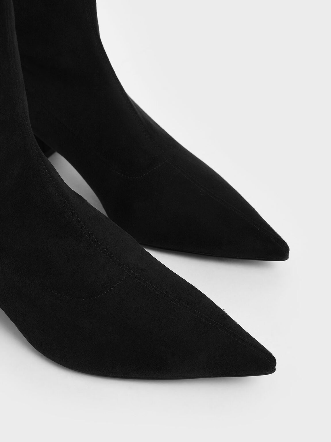 Textured Pointed Toe Calf Boots, Black, hi-res