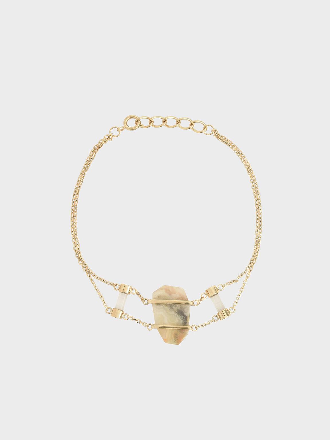 Crazy Agate Stone Double Layer Bracelet, Gold, hi-res