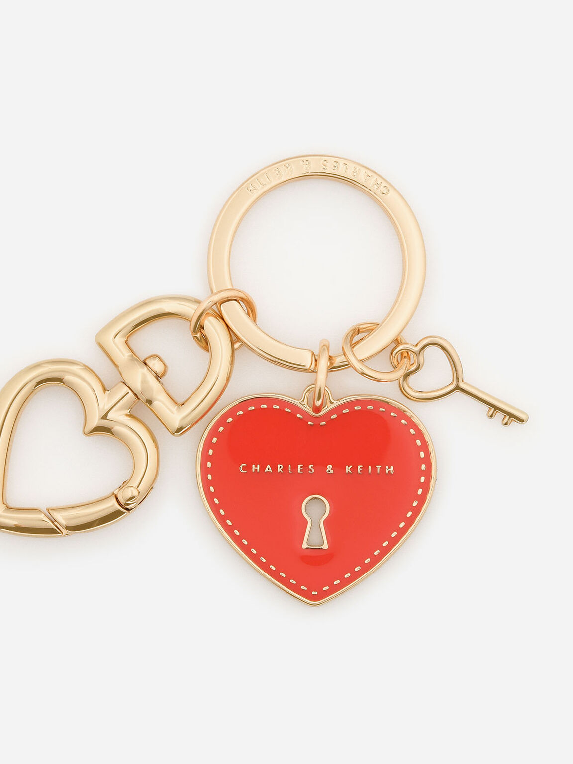 Heart Lock Keychain, Red, hi-res