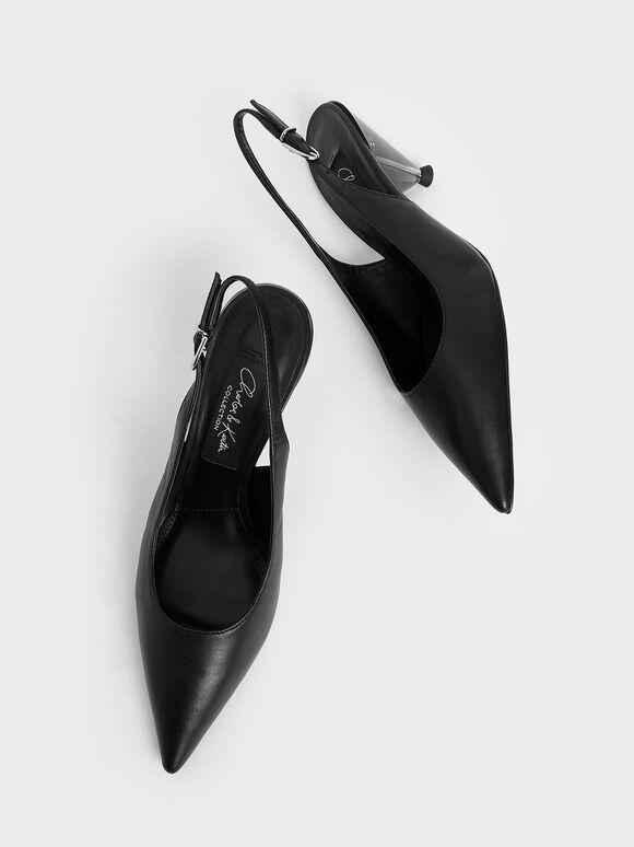 Leather Cone Heel Pumps, Black, hi-res