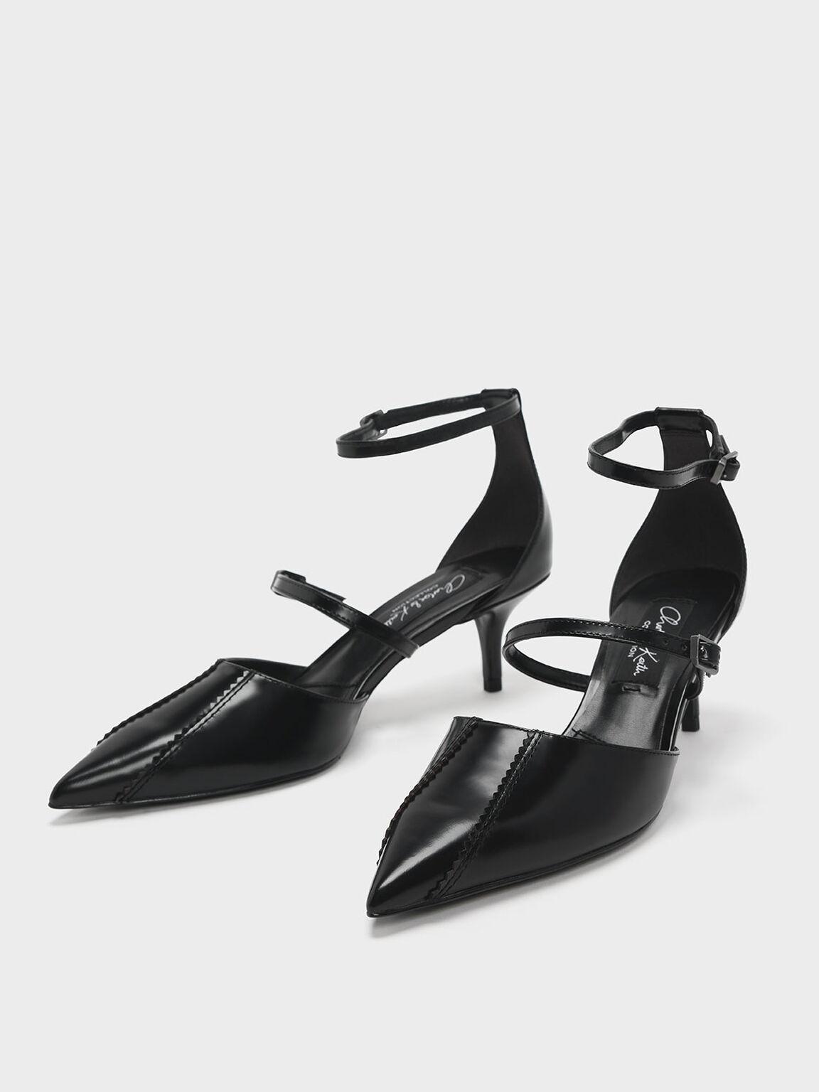 Zigzag Detail Leather Mary Jane Kitten Heels, Black, hi-res