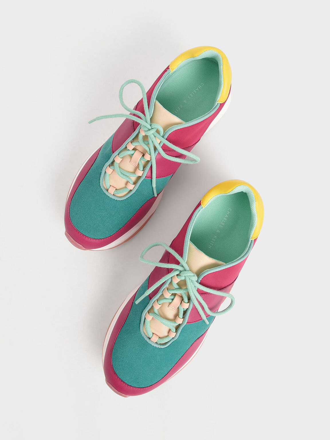 Textured Lace-Up Sneakers, Teal, hi-res