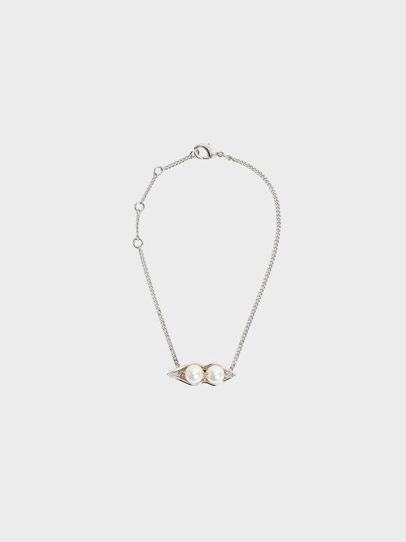 'Peas In A Pod' Friendship Bracelet, Silver, hi-res