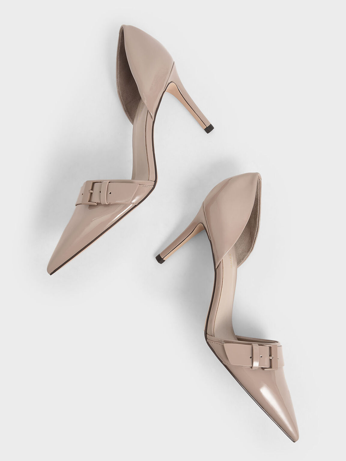 Patent Buckled D'Orsay Pumps, Taupe, hi-res