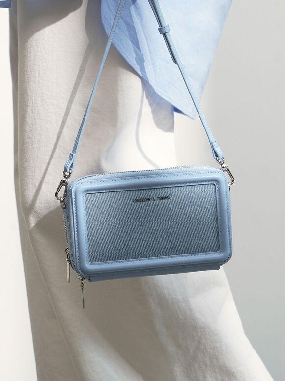 Textured Zip Around Wallet, Denim Blue, hi-res