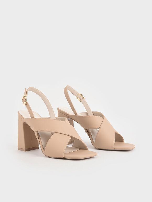 Criss-Cross Slingback Heeled Sandals, Nude, hi-res