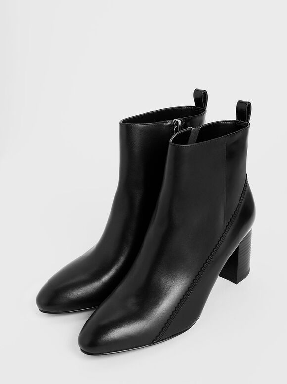 Zigzag Detail Zip-Up Leather Ankle Boots, Black, hi-res