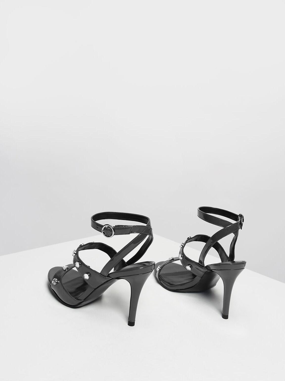 Stud Detail Heeled Sandals, Grey, hi-res