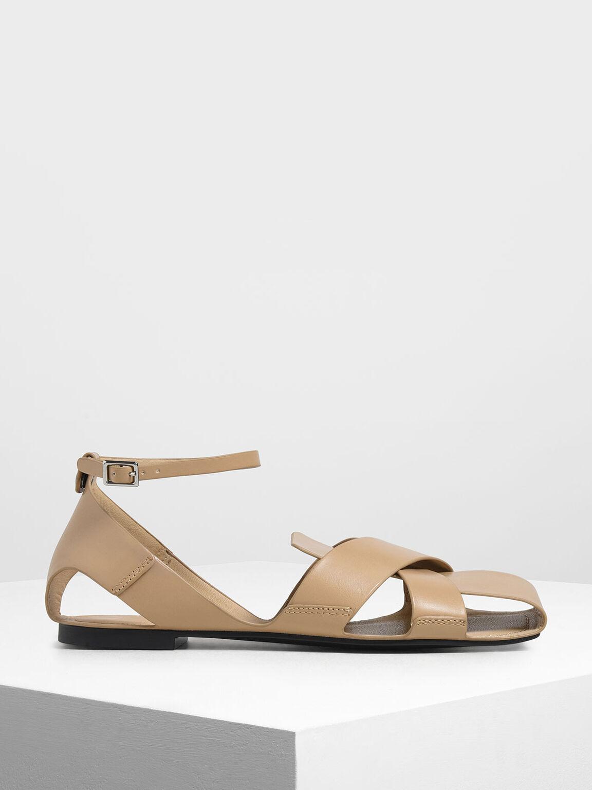 Criss Cross Peep Toe Sandals, Nude, hi-res
