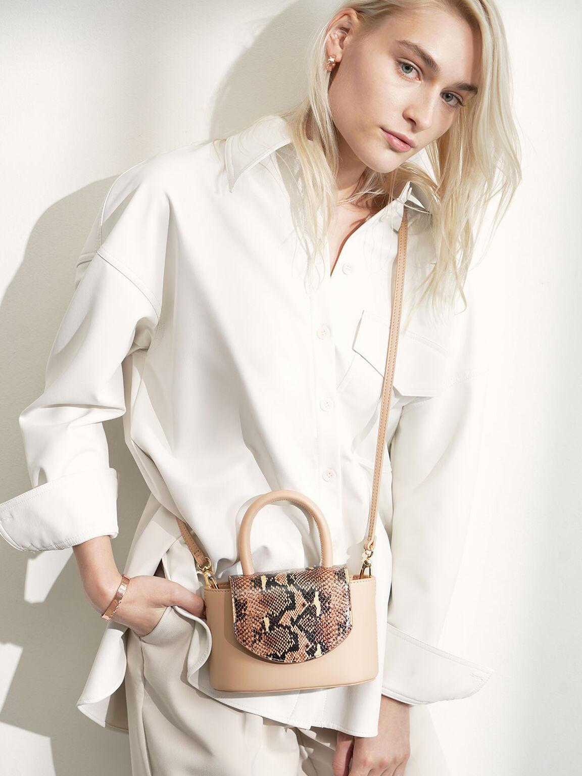 Snake Print Leather Cylinder Bag, Pink, hi-res