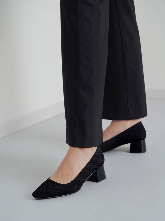 Mesh Square Toe Block Heel Pumps, Black Textured, hi-res
