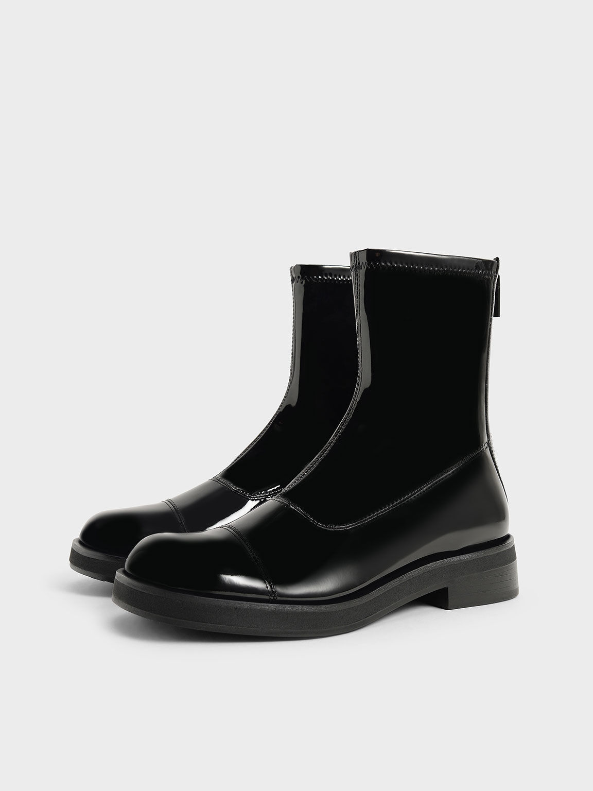 Patent Round Toe Zip-Up Ankle Boots, Black Textured, hi-res