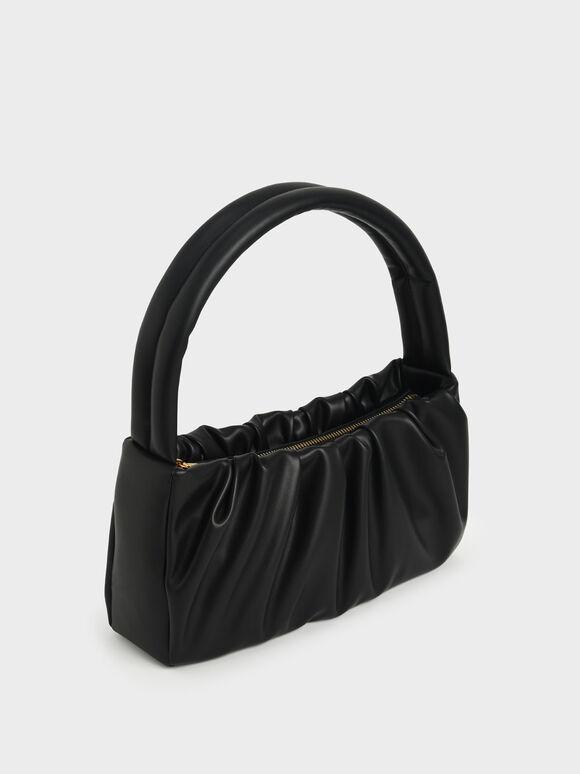 Ruched Top Handle Bag, Black, hi-res