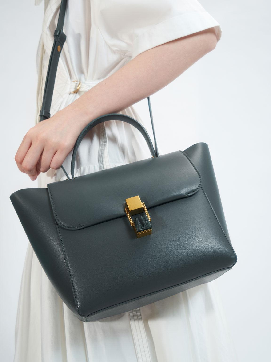 Stone-Embellished Trapeze Bag, Teal, hi-res