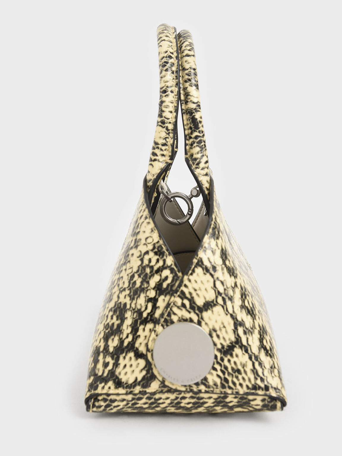 Snake Print Top Handle Dome Bag, Yellow, hi-res