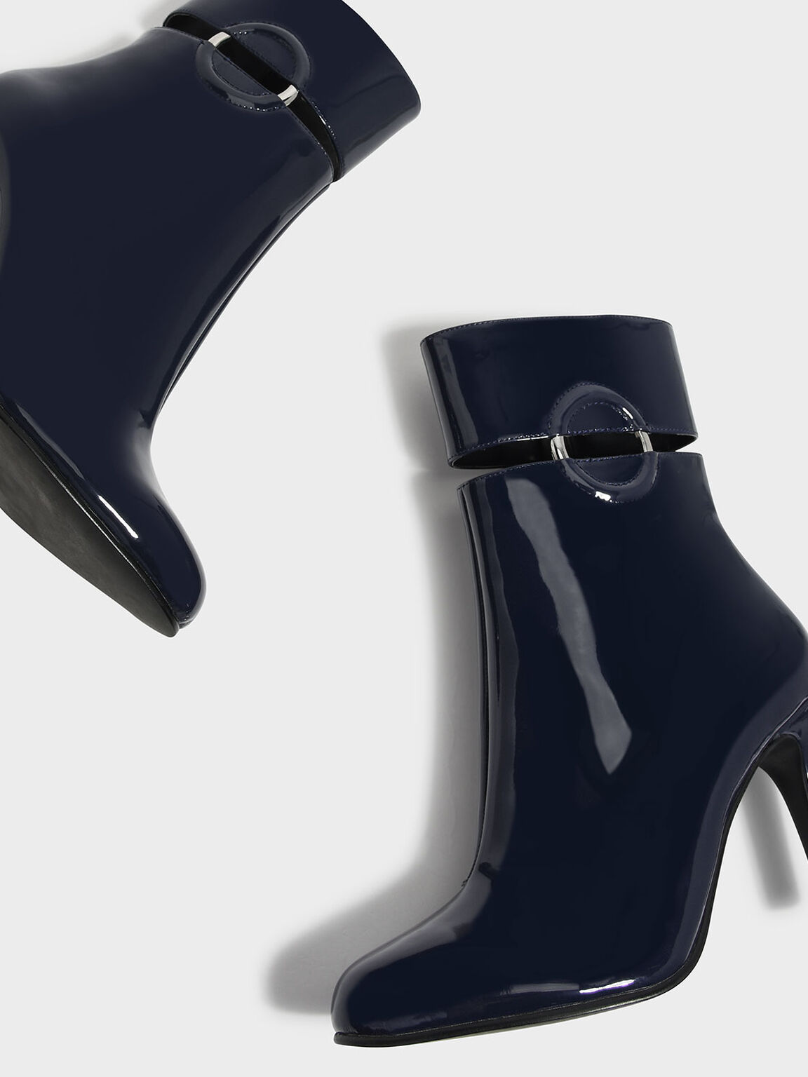 Ring Detail Calf Boots, Dark Blue, hi-res