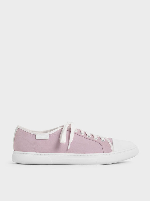 Recycled Cotton Pointed Toe Sneakers, Lilac, hi-res