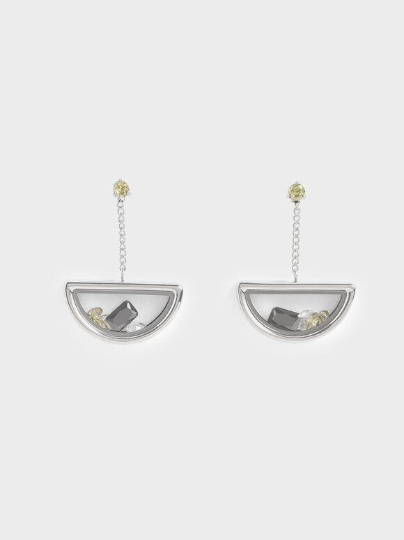 Semi-Circle Floating Locket Drop Earrings, Silver, hi-res