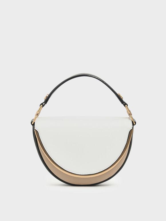 Two-Tone Top Handle Semi-Circle Bag, Multi, hi-res
