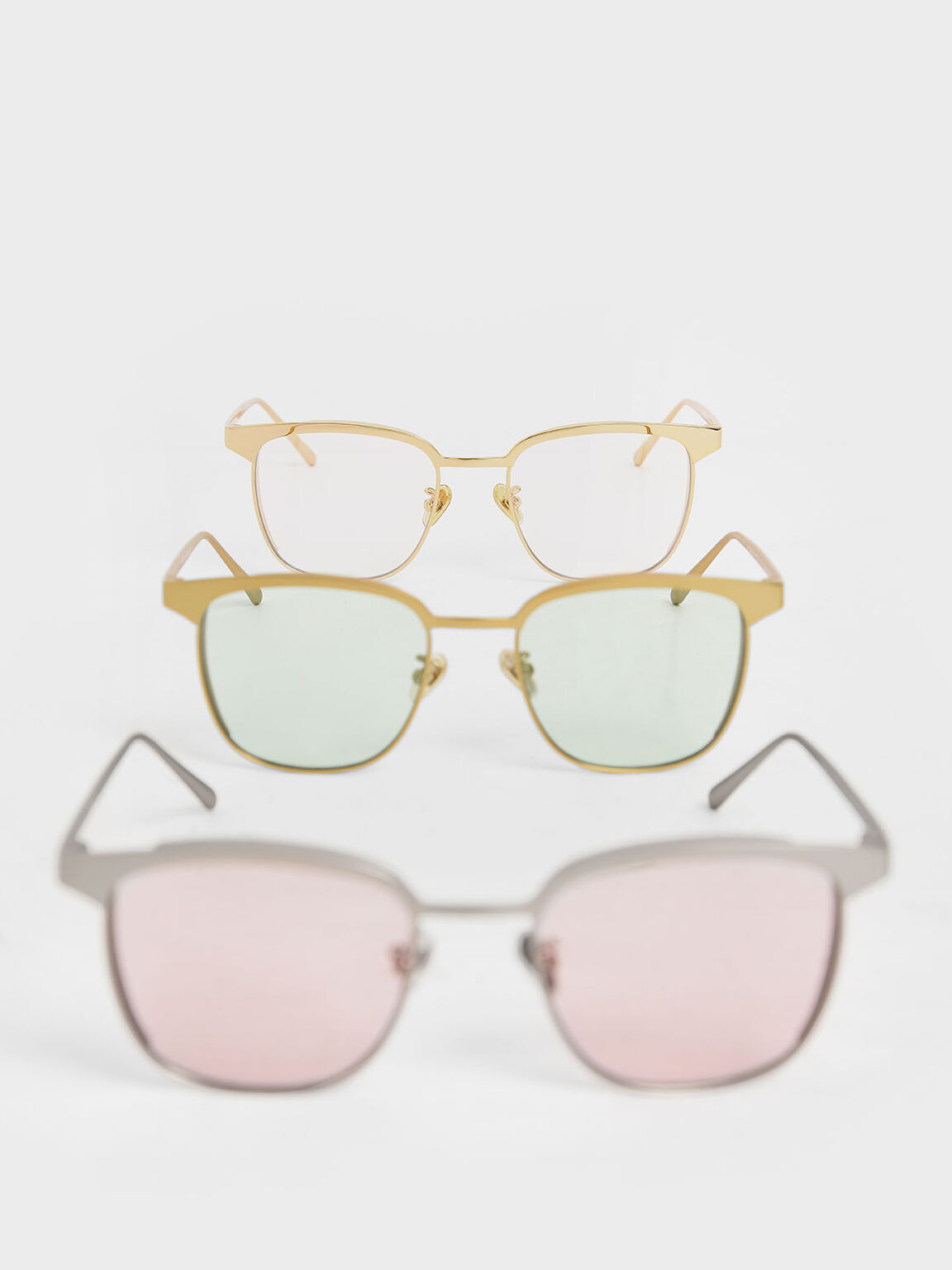Tinted Rectangular Sunglasses, White, hi-res