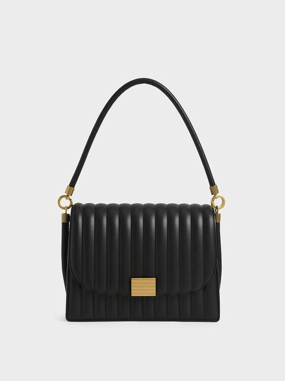 Panelled Shoulder Bag, Black, hi-res