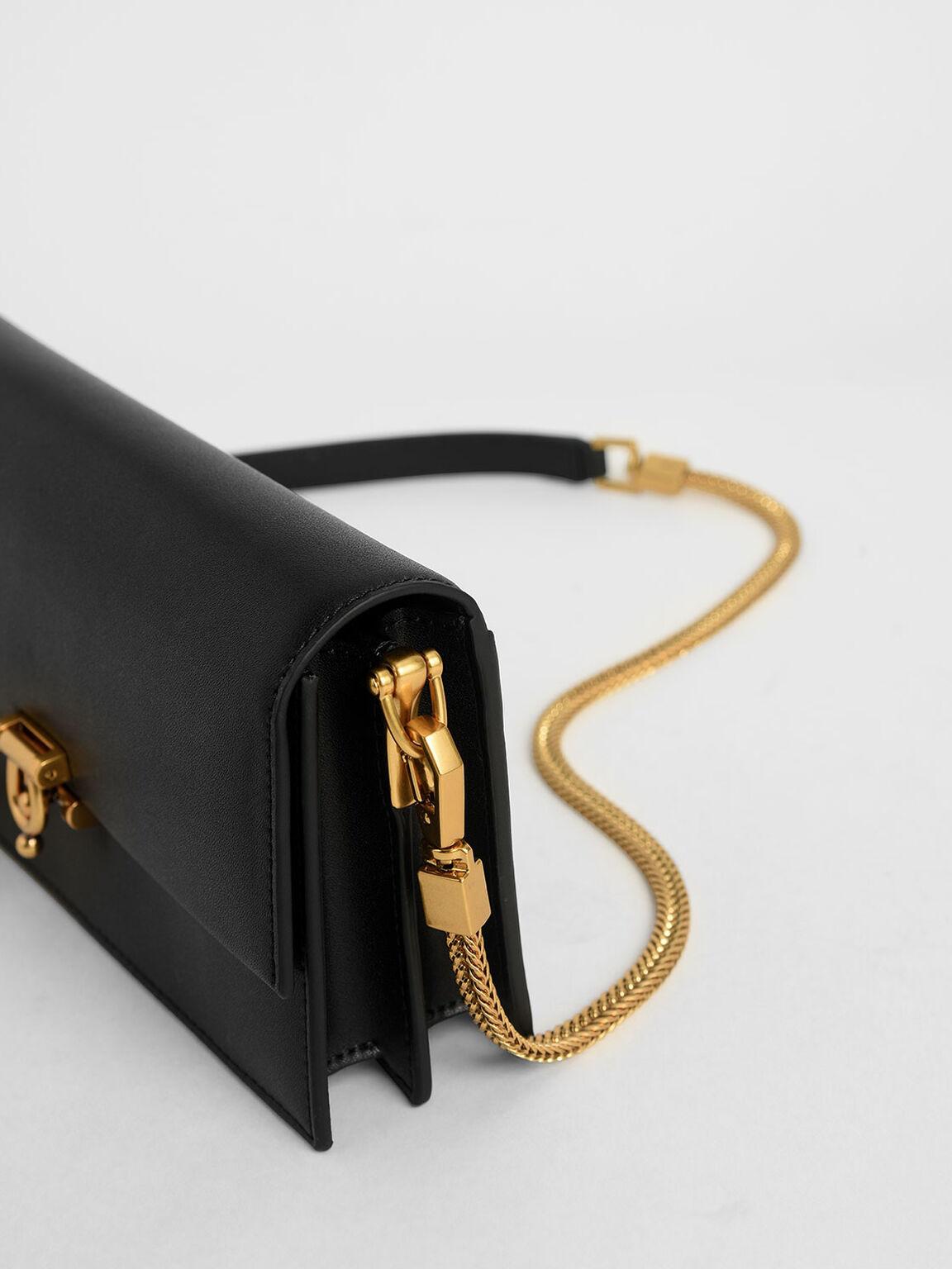 Metallic Accent Long Wallet, Black, hi-res
