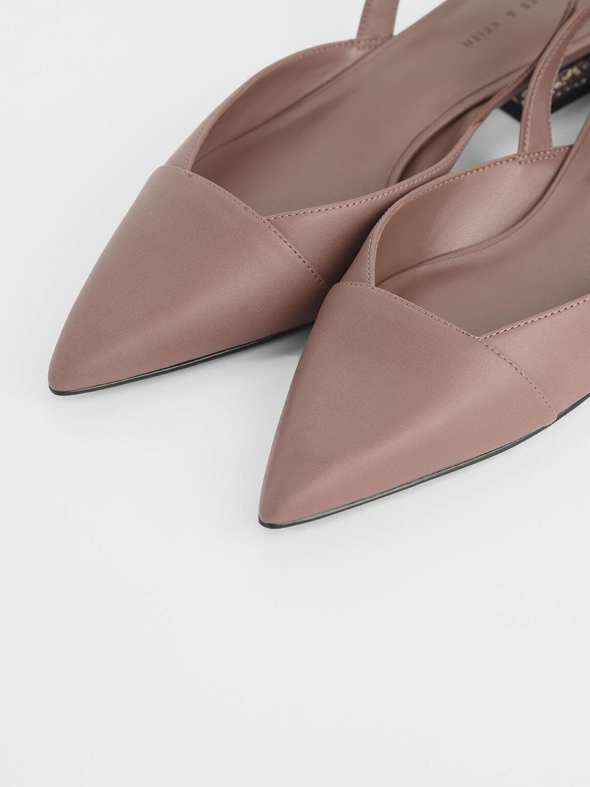 Terrazzo Print Sculptural Heel Covered Sandals, Pink, hi-res