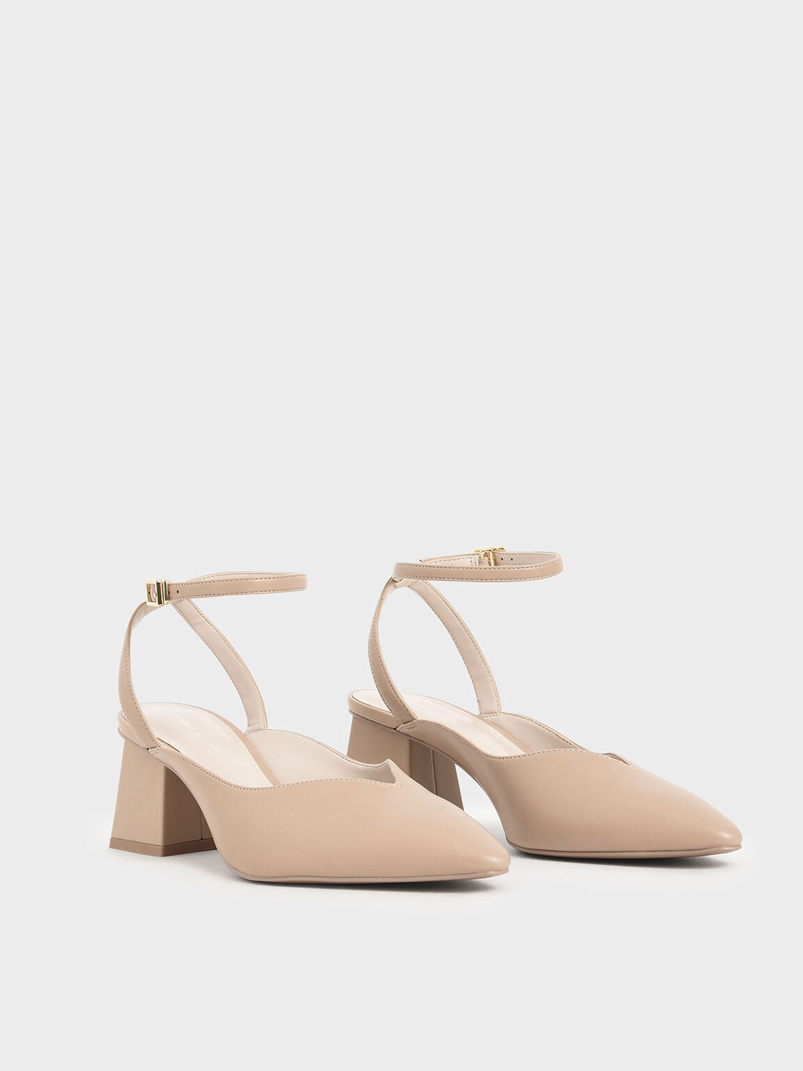 Sweetheart-Cut Pumps, Nude, hi-res