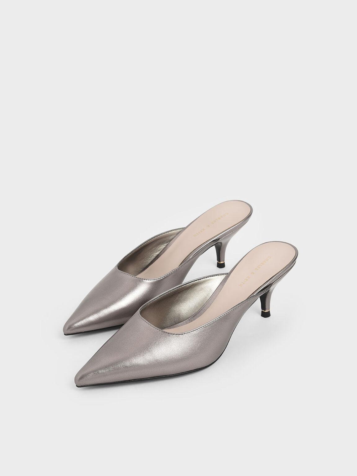Metallic Pointed Toe Kitten Heel Mules, Pewter, hi-res