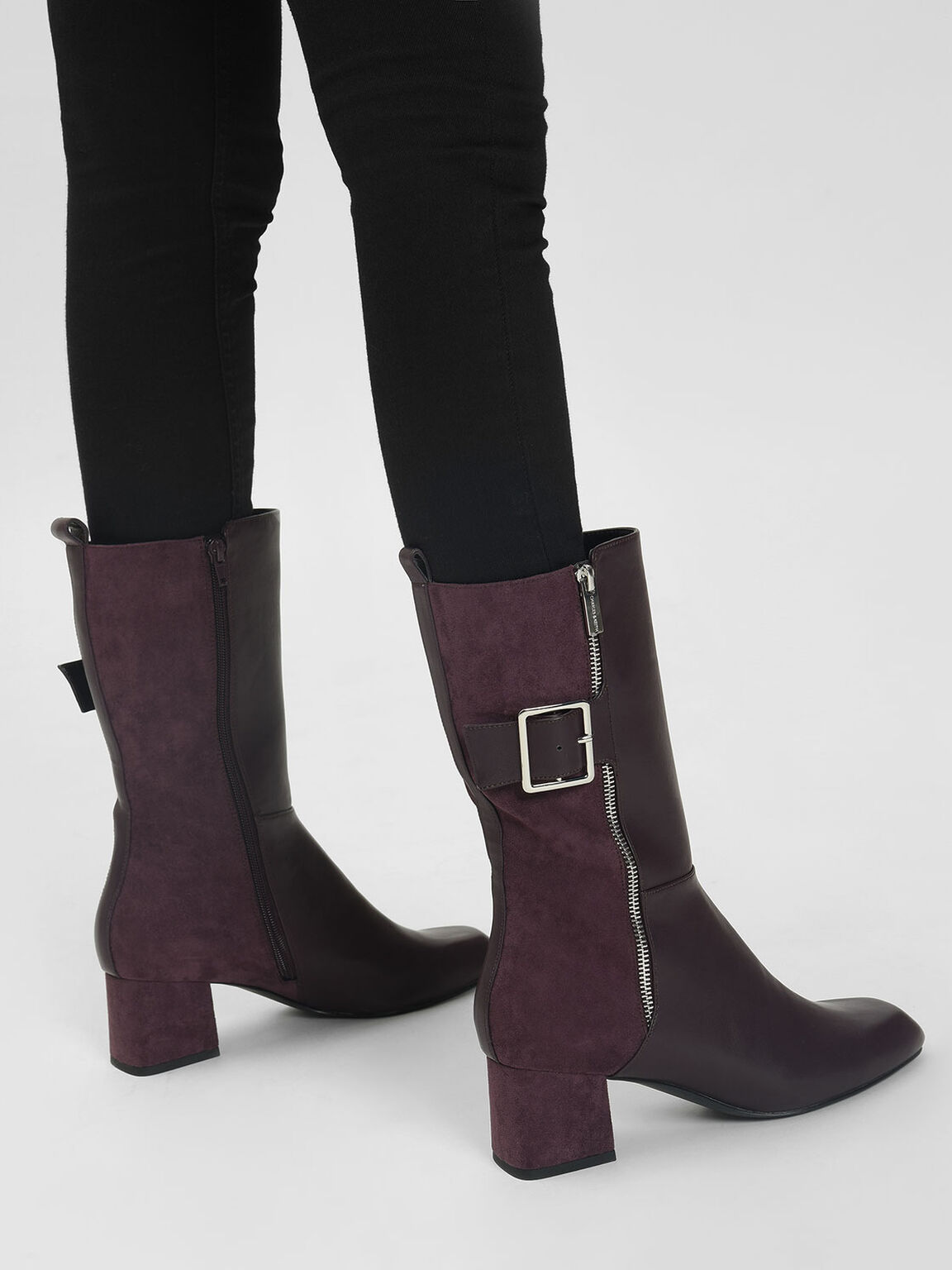 Buckle Detail Calf Boots, Purple, hi-res