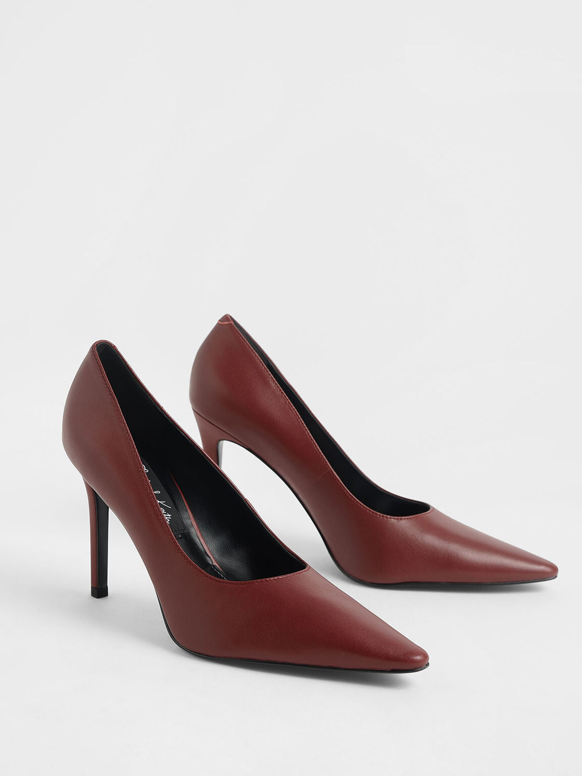 Leather Pointed Toe Stiletto Pumps, Red, hi-res