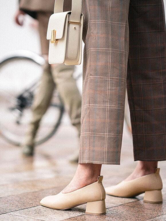 Block Heel Round Toe Court Shoes, Beige, hi-res