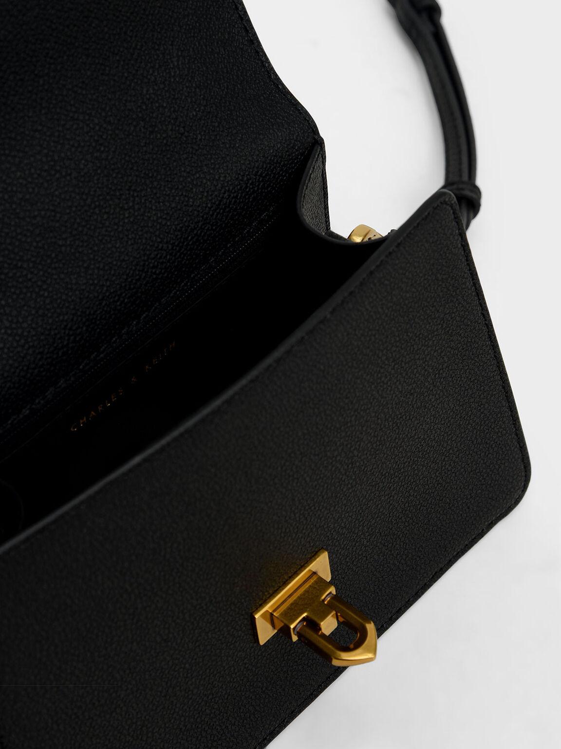 Metallic Push-Lock Top Handle Bag, Black, hi-res