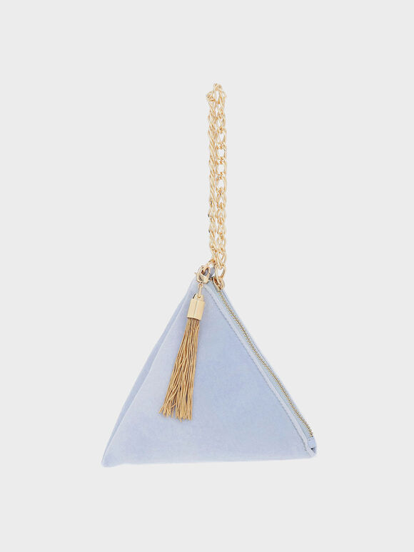 Hera Velvet Pyramid Clutch, Blue, hi-res