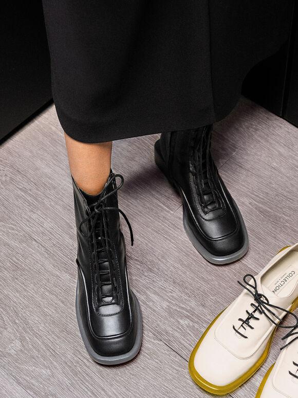 Fleur Leather Lace-Up Boots, Black, hi-res