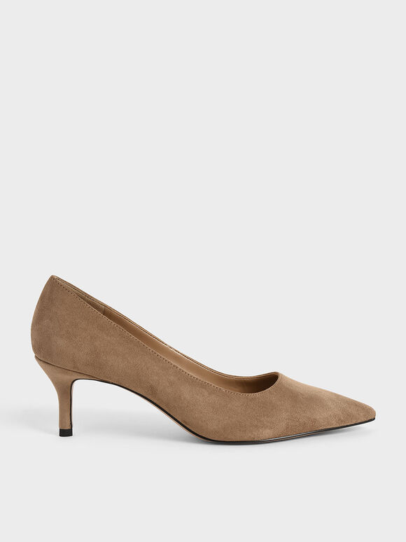 Textured Pointed Toe Court Shoes, Camel, hi-res