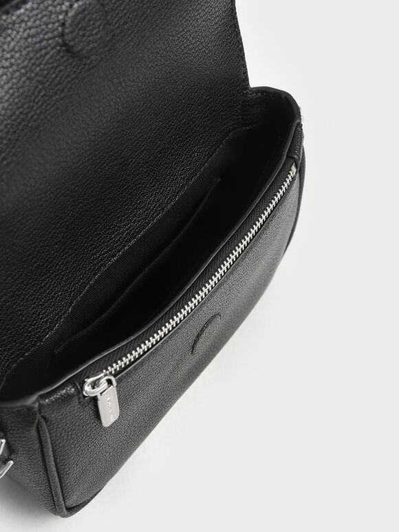 Chain Detail Crossbody Bag, Black, hi-res