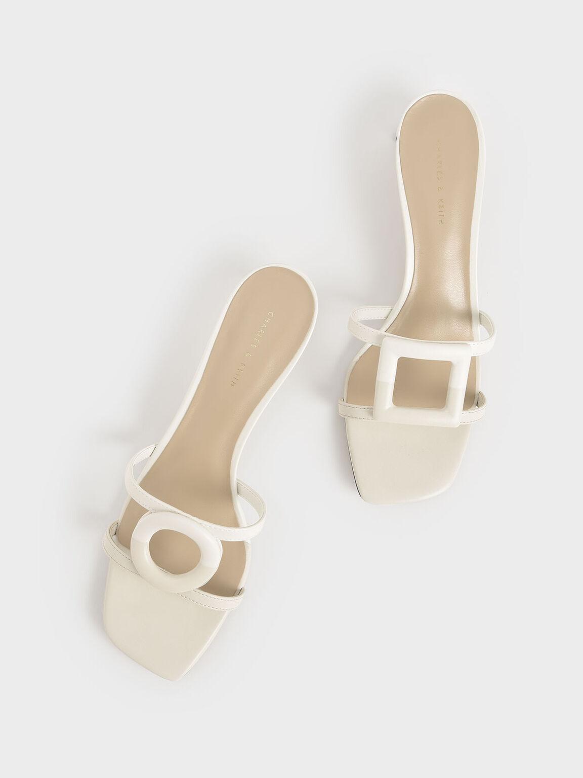 Mismatched Blade Heel Sandals, Chalk, hi-res