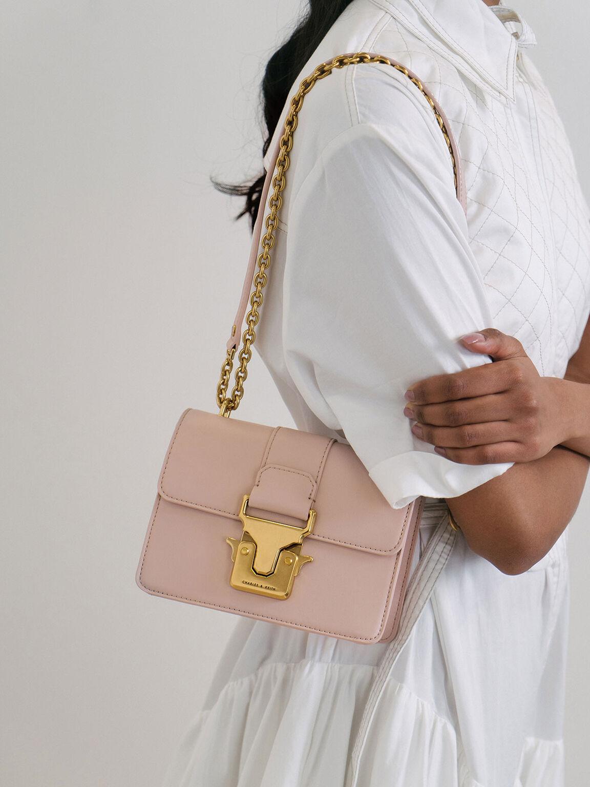 Double Handle Metallic Push-Lock Shoulder Bag, Pink, hi-res