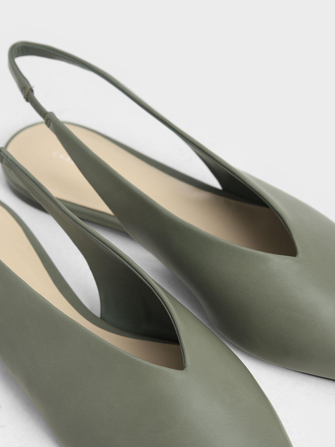 Pointed Toe Slingback Ballerinas, Sage Green, hi-res