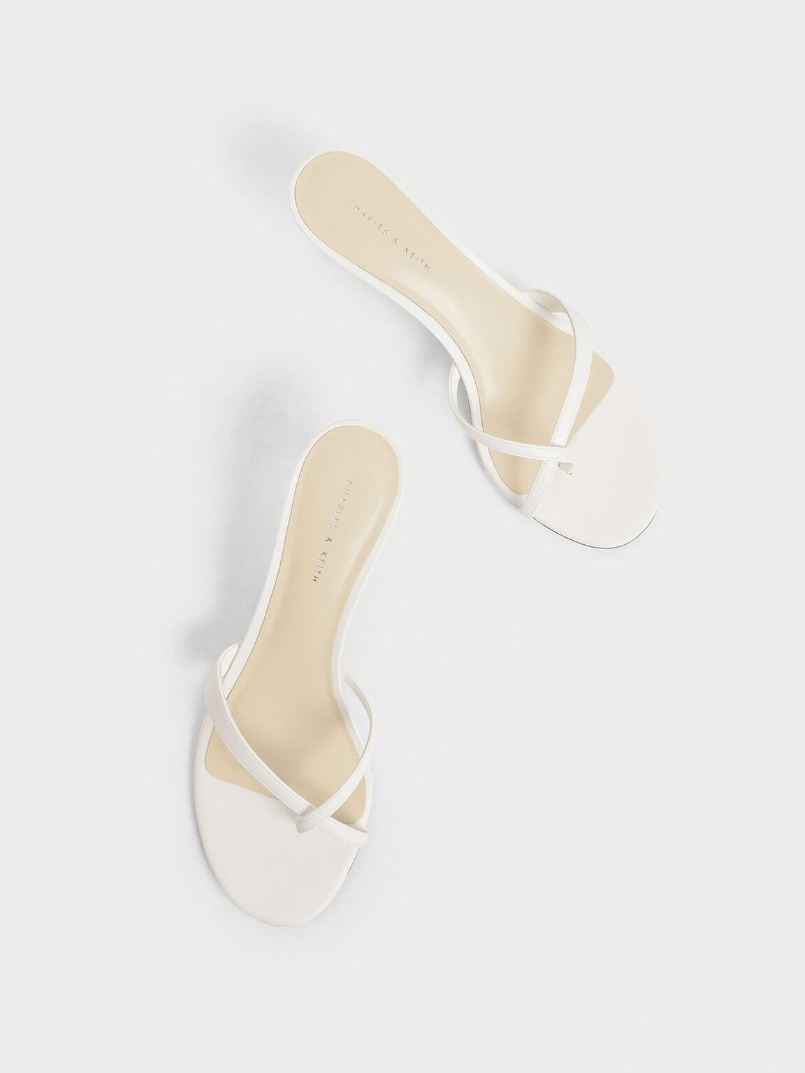 Toe Strap Heeled Sandals, White, hi-res