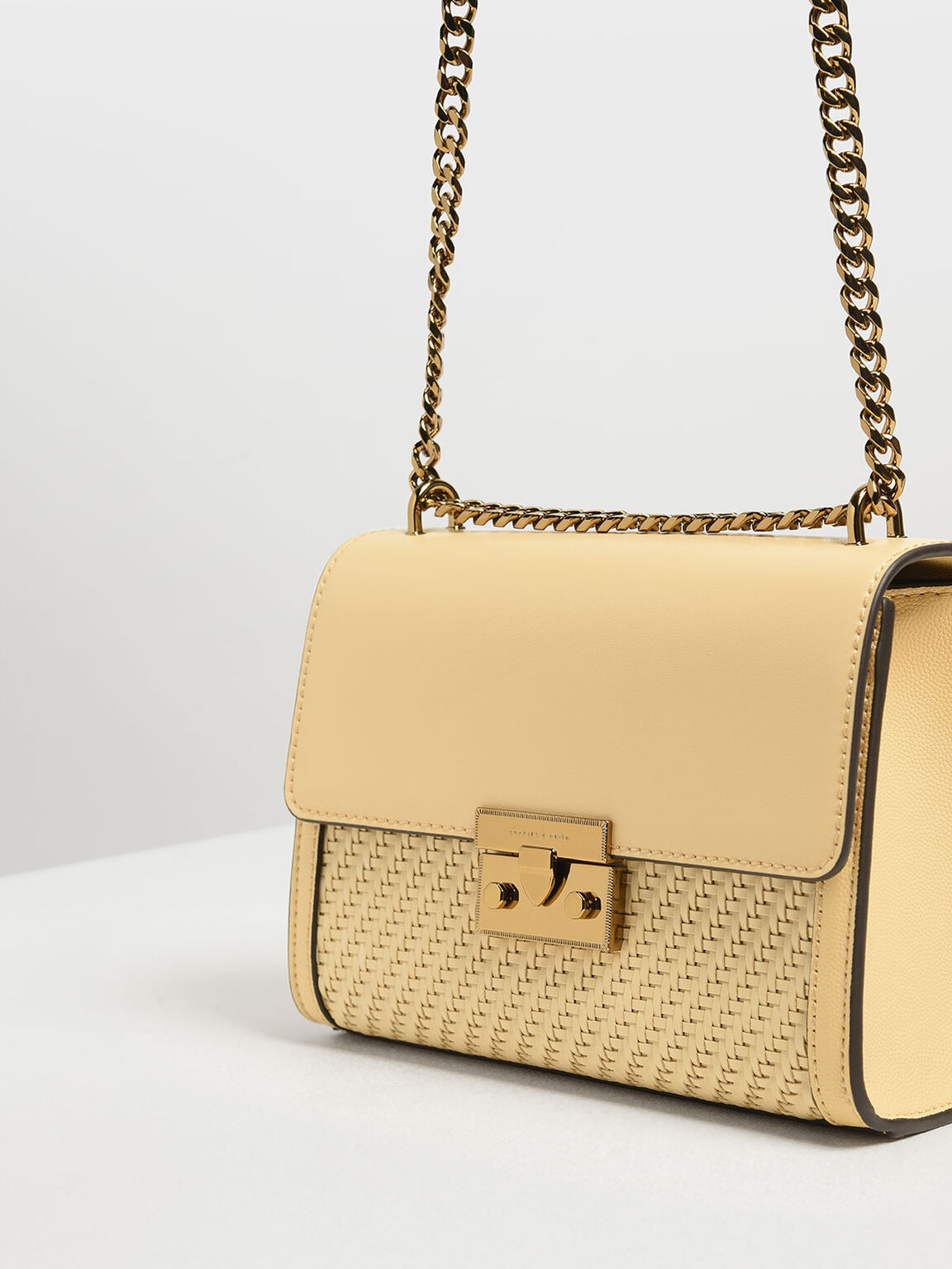 Woven Detail Clutch, Yellow, hi-res