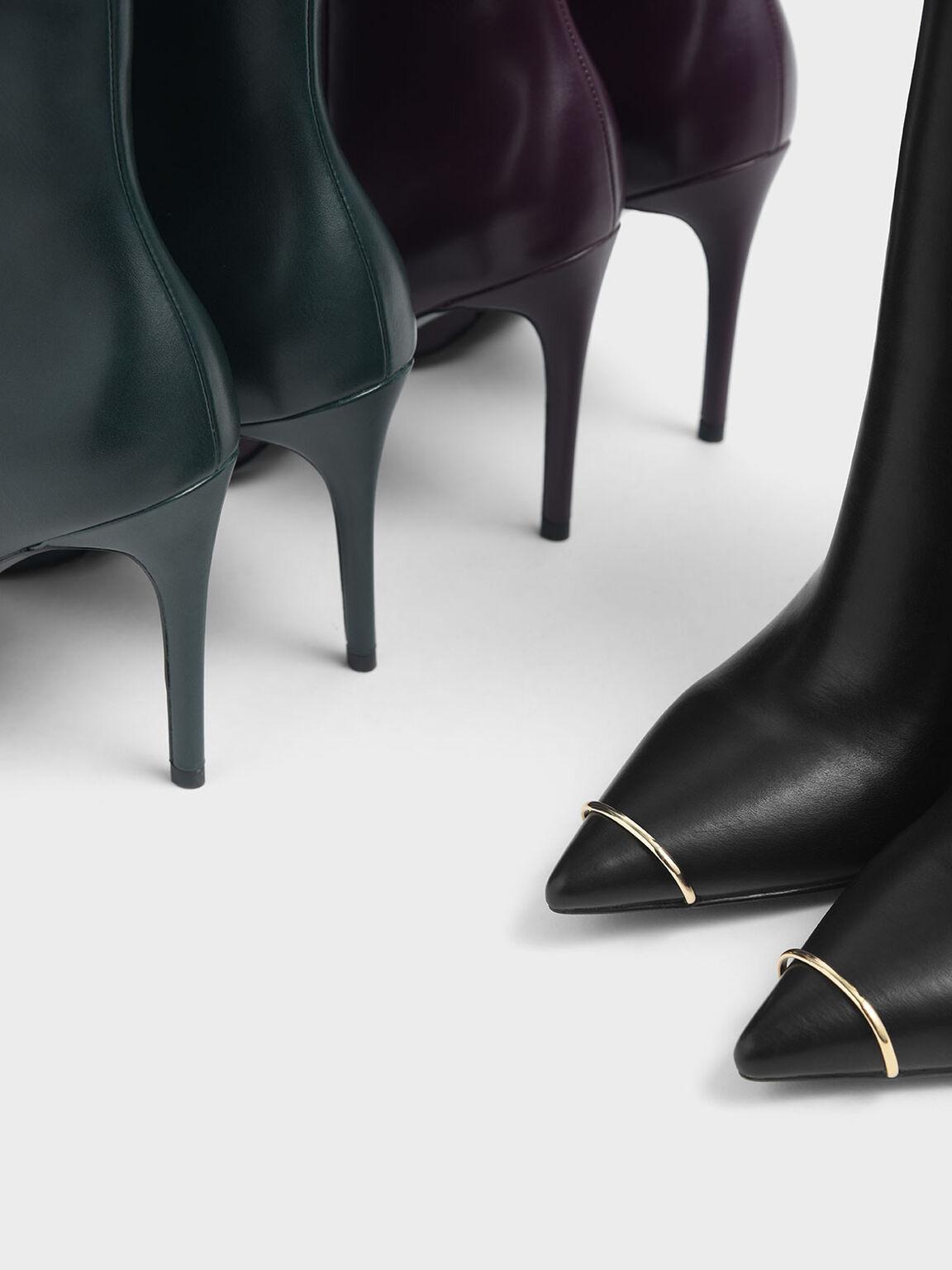 Metallic Accent Pointed Toe Stiletto Heel Boots, Black, hi-res