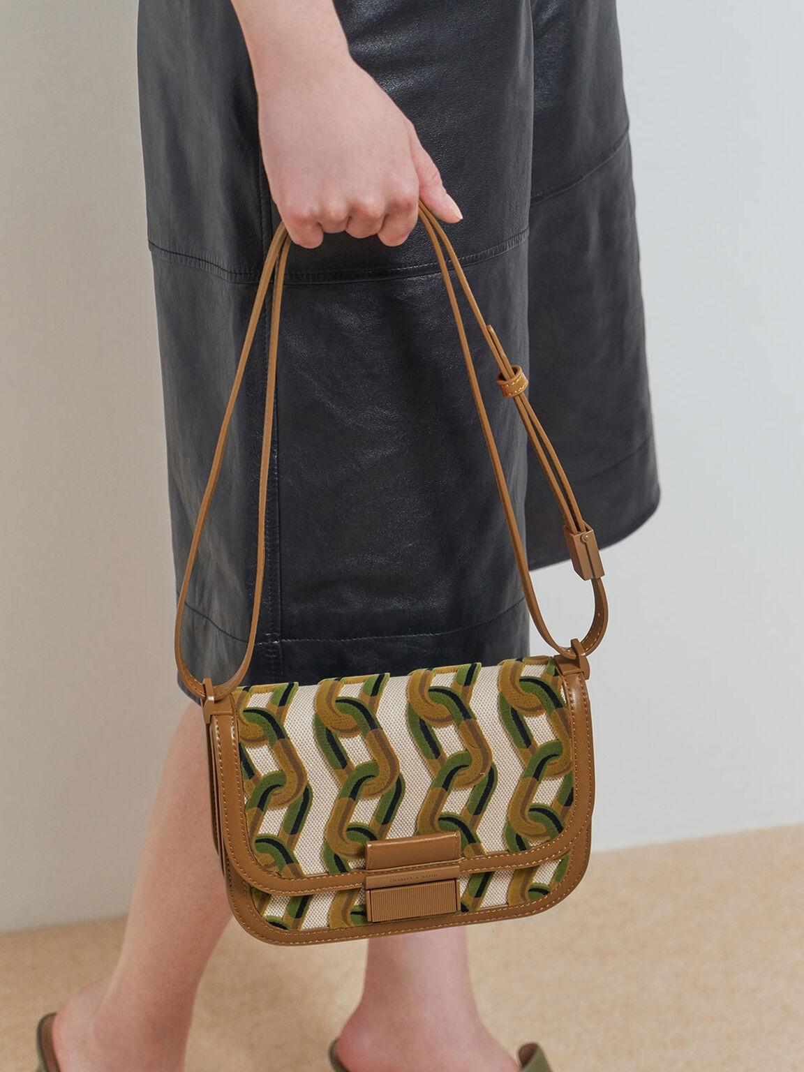 Printed Canvas Crossbody Bag, Brown, hi-res