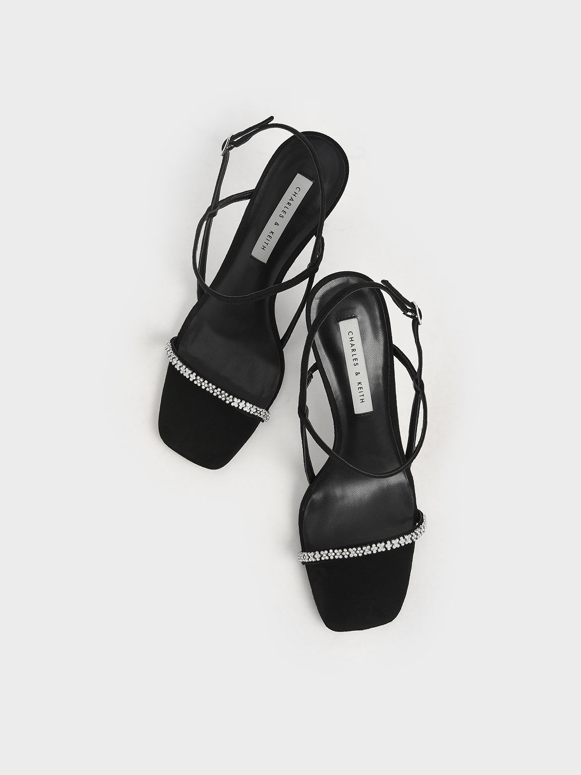Textured Gem-Embellished Strappy Sandals, Black, hi-res