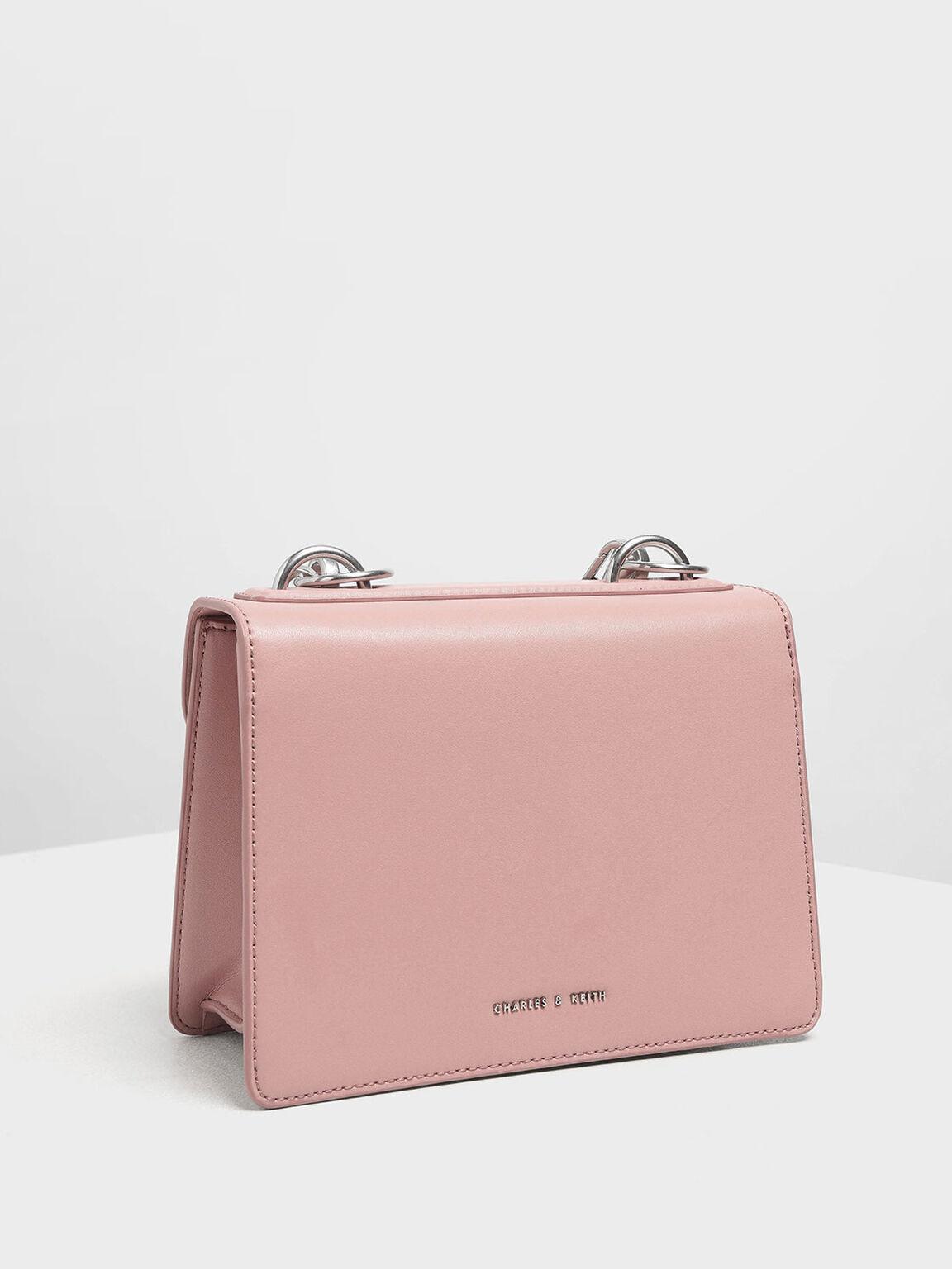 Metal Push Lock Front Flap Bag, Pink, hi-res